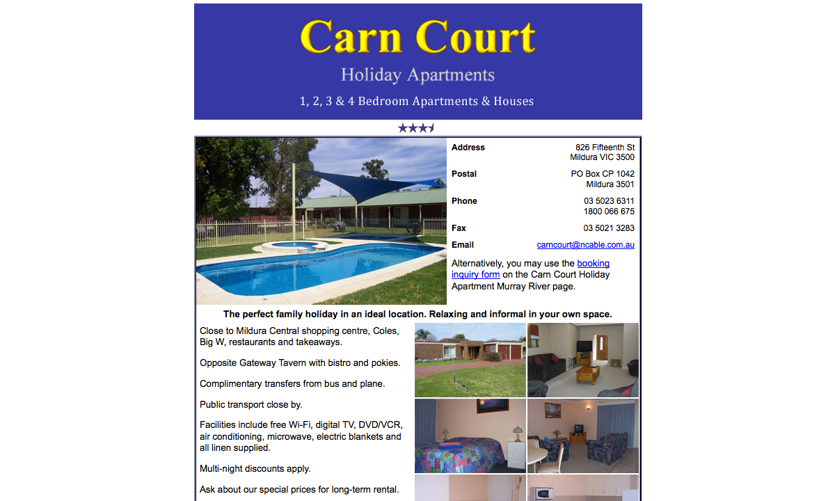 Carn Court Holiday Apartments Website Design